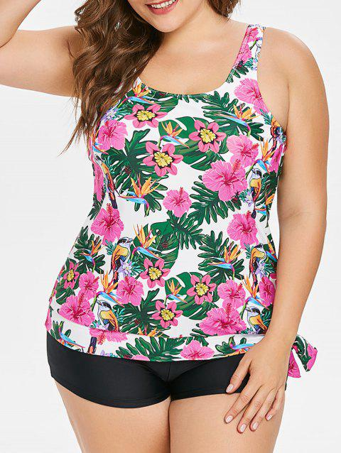 Side Knotted Plus Size Floral Print Tankini Set - multicolor L
