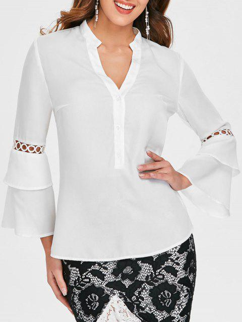 Hollow Circle Panel Flare Sleeve Blouse - WHITE L