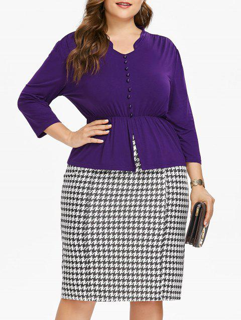 93c3f82b541 65% OFF  2019 Plus Size Long Sleeve Top And Houndstooth Print Skirt ...