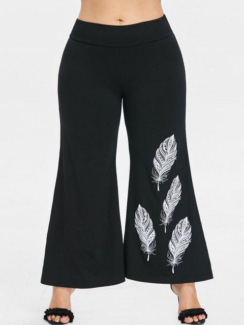 Plus Size Feather Pattern Flare Leg Pants - BLACK L