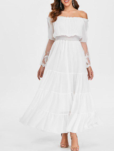 High Waist Bare Shoulder Long Dress - WHITE S