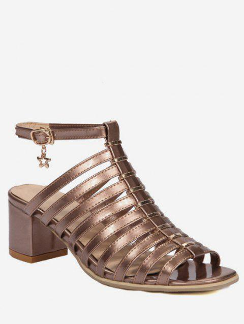 Plus Size Leisure Multi Straps Caged Block Heel Sandals - CHAMPAGNE GOLD 41