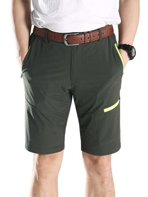 Zip Fly Contrast Color Sportive Shorts - ARMY GREEN L
