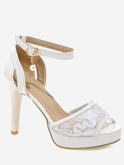 Plus Size High Heel Peep Toe Lace Sandals - WHITE 39