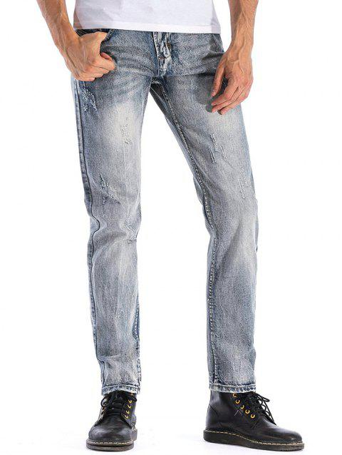 Distressed Zip Fly Faded Wash Jeans - BLUE GRAY 40