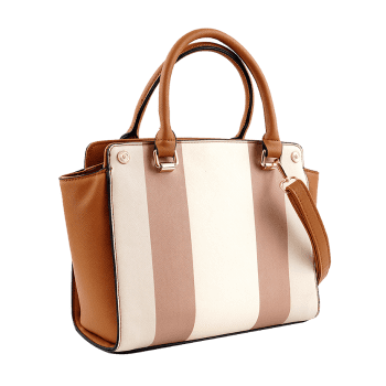 Daily Color Block Striped Chic Handbag - BROWN