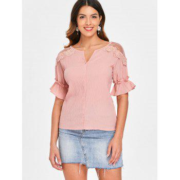 Flare Sleeve Lace Shoulder Crinkle Blouse - ORANGE PINK XL