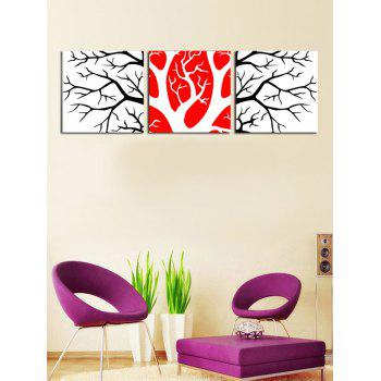 Wall Art Split Branches Pattern Canvas Paintings - multicolor 3PC:12*12 INCH( NO FRAME )