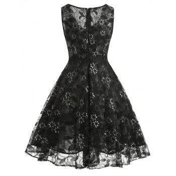 Sleeveless A Line Full Lace Dress - BLACK M