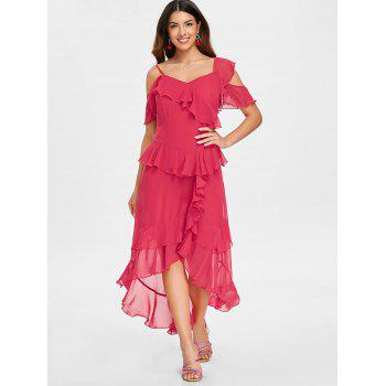 Faux Wrap High Low Layered Ruffle Midi Dress - RED XL
