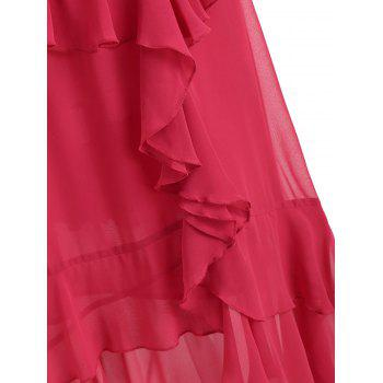 Faux Wrap High Low Layered Ruffle Midi Dress - RED 2XL