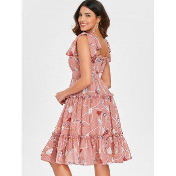 Printed Tie Shoulder Ruffle Midi Dress - PINK L