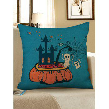 Halloween Castle Print Linen Sofa Pillowcase - multicolor W18 INCH * L18 INCH
