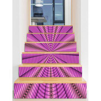 Geometric Abyss Pattern Removable Stair Stickers - NEON PINK
