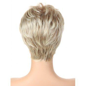 Short Inclined Bang Layer Colormix Straight Synthetic Wig - multicolor A 8INCH