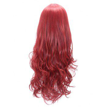 Long Middle Part Wavy Party Capless Synthetic Wig - RED