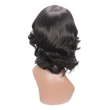 Inclined Bang Medium Length Wavy Capless Synthetic Wig - BLACK
