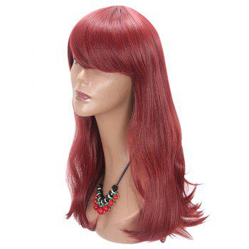 Long Side Fringe Slightly Curly Party Synthetic Wig - RED