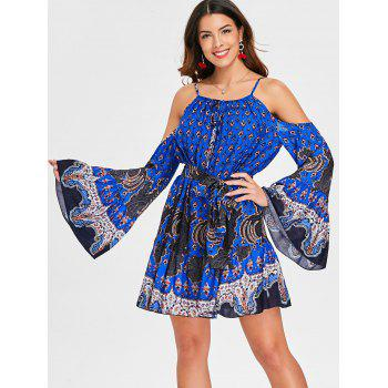 Ethnic Print Long Sleeve Tunic Dress - BLUE M