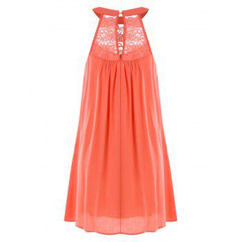 Robe à Encolure Bavoir et Empiècements en Dentelle - Orange XL