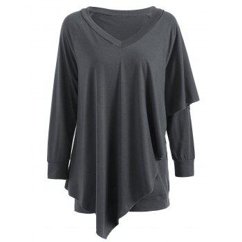 V Neck Overlay T-shirt - DARK GRAY XL