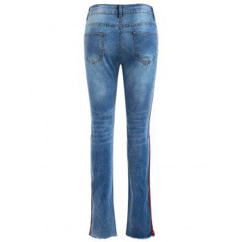 Stripe Side Asymmetrical Hem Distressed Jeans - DENIM BLUE L