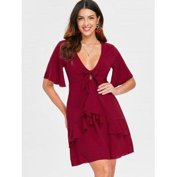 Cut Out Ruffle Low Cut Dress - RED WINE XL