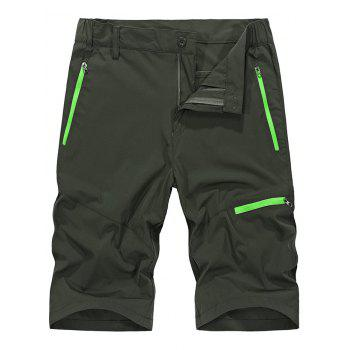 Zip Fly Contrast Color Sportive Shorts - ARMY GREEN 2XL