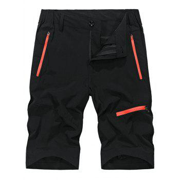 Zip Fly Contrast Color Sportive Shorts - BLACK 3XL