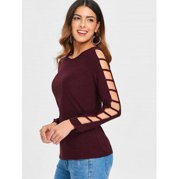 Shredding Cut Sleeve Top - RED WINE XL