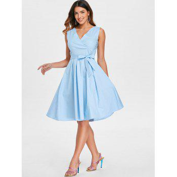 Vintage Belted Pin Up Dress - SEA BLUE 2XL