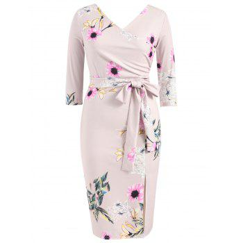 Floral Print Bowknot Pencil Dress - LIGHT PINK M