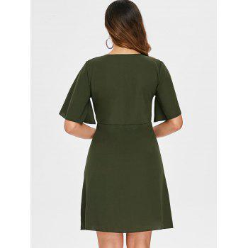 Cut Out Ruffle Low Cut Dress - ARMY GREEN S