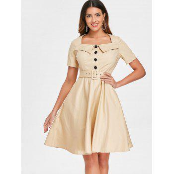 Retro Square Neck Buttoned Pin Up Dress - LIGHT KHAKI 2XL