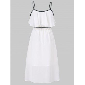 Spaghetti Strap Popover Dress with Tassel - MILK WHITE M