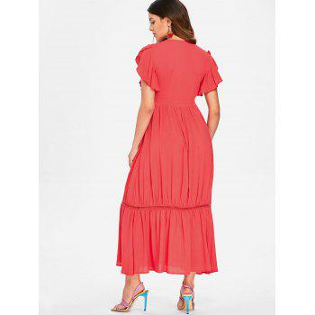 See Thru Embroidered Plunging Neck Dress - BEAN RED 2XL