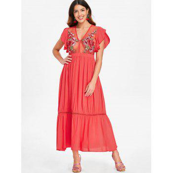 See Thru Embroidered Plunging Neck Dress - BEAN RED S