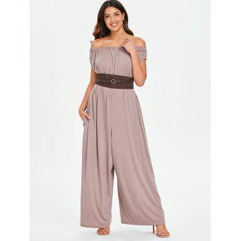 Elastic Off The Shoulder Jumpsuit - COFFEE L