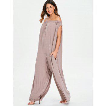 Elastic Off The Shoulder Jumpsuit - COFFEE 2XL