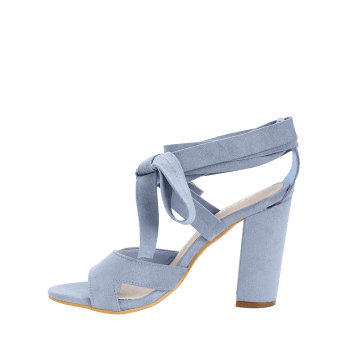 Chunky Heel Hollow Out Lace Up Sandals - LIGHT BLUE 37