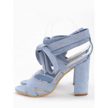 Chunky Heel Hollow Out Lace Up Sandals - LIGHT BLUE 38