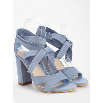 Chunky Heel Hollow Out Lace Up Sandals - LIGHT BLUE 39