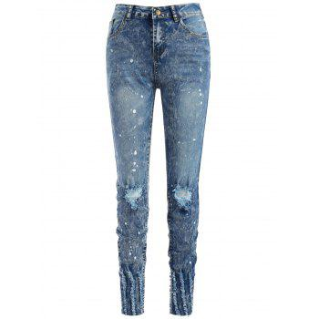 Spray Paint Ninth Distressed Jeans - JEANS BLUE M