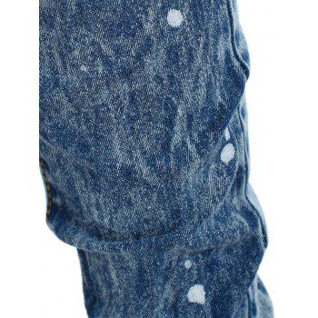 Spray Paint Ninth Distressed Jeans - JEANS BLUE 2XL