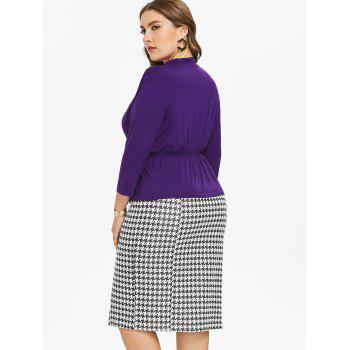 Plus Size Long Sleeve Top and Houndstooth Print Skirt - PURPLE 3X