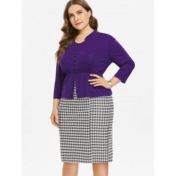 Plus Size Long Sleeve Top and Houndstooth Print Skirt - PURPLE 1X