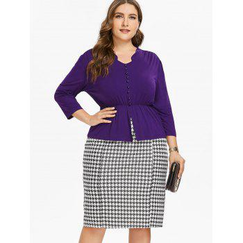 Plus Size Long Sleeve Top and Houndstooth Print Skirt - PURPLE L