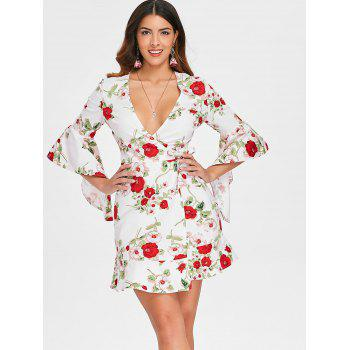 Plunging Neckline Floral Mini Wrap Dress - WHITE L