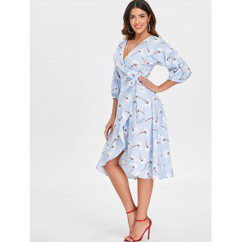 Puff Sleeve Floral Striped Wrap Dress - BABY BLUE 2XL