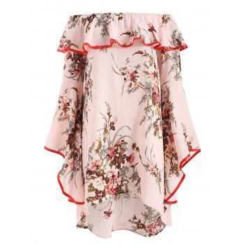 Bell Sleeve Off Shoulder Floral Dress - PINK S